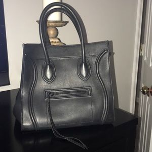 Celine Luggage Bag Black Leather